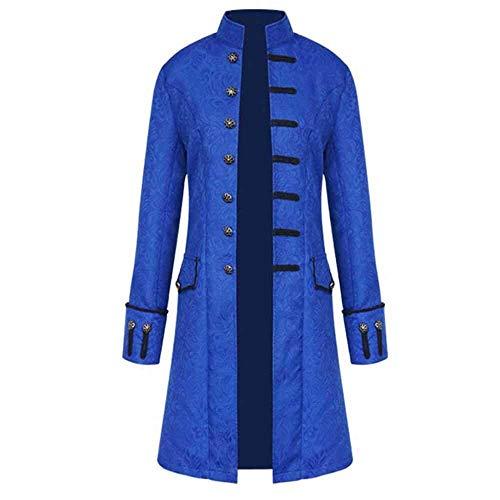 Chaqueta De Los Hombres Steampunk Gothic Frock Coat Uniforme Disfraz Ropa de Fiesta De Cosplay Coat Retro Victorian Long Uniform Dress Plus Size Men Long Sleeve (Color : Blau, Size : L3)