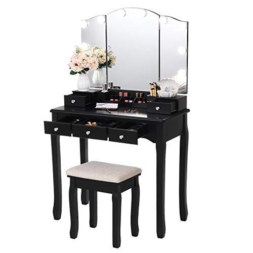 ANWBROAD Tocador con espejo plegable y 10 bombillas LED, mesa con 5 cajones, 2 separadores para manualidades, taburete acolchado, organizador móvil, color negro BDT05B