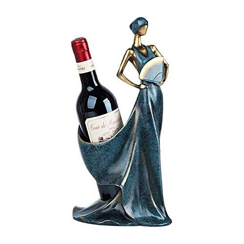 ZHUANYIYI Estante de Vino, Decoración para el hogar Esculturas Belleza Mujer con Forma de Vino Titular de Vino Estante de Vino Escultura de Metal Escultura práctica Decoración del hogar (Color : Si)