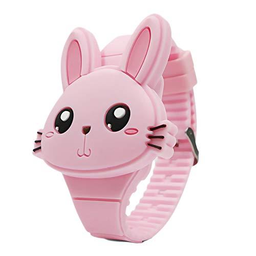 Reloj de Pulsera Digital para niños Relojes Infantiles Reloj de niña Conejos Reloj Deportivo para niños Reloj led Digital para niñas (Pink)