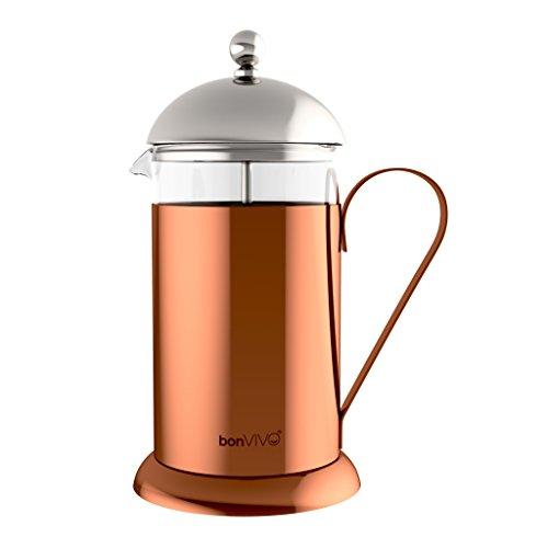 bonVIVO® GAZETARO II, Design-Kaffeebereiter und French Press in Kupfer-Chrom Optik aus Edelstahl und Glas, mit Filter, Groß, 1l/1000ml, (8 Tassen)