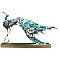 純粋な銅色の孔雀の彫像の彫刻、男性の誕生日プレゼントオフィス工芸品装飾ホームアートコレクションの装飾品,A