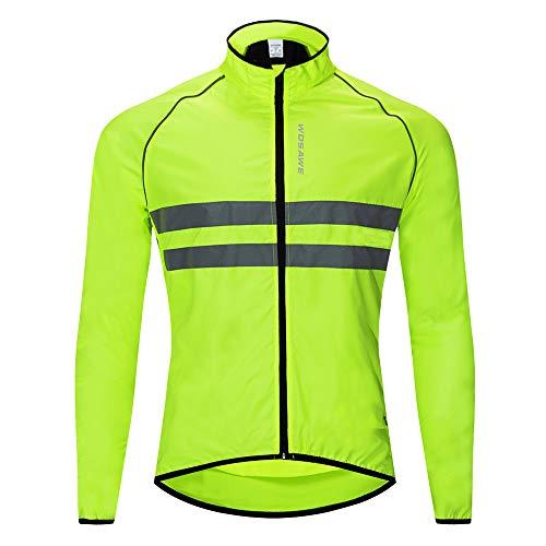 WOSAWE Hombres Ropa Ciclismo, Transpirable Chaqueta de Ciclismo Cortavientos Alta Visivilidad Chaleco Reflectante de MTB (BL215 Chaleco Verde L)