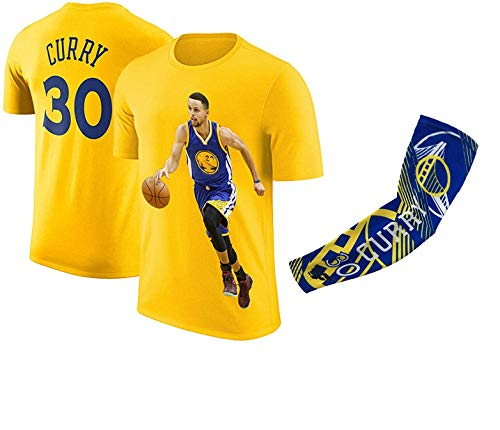 Steph Curry Jersey Style T-Shirt Kids Curry Yellow T-Shirt Gift Set Youth Sizes (YL 10-13 Years Old, Curry)