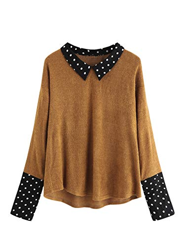 Romwe Women's Loose Contrast Polka Dot Collar Long Sleeve Blouse Knit Tops Brown Small