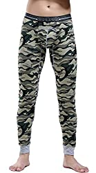 mens cotton camouflage thermal pants green