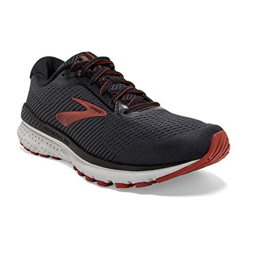 Brooks Mens Adrenaline GTS 20 Running Shoe - Black/Ebony/Ketchup - 2E - 12.0