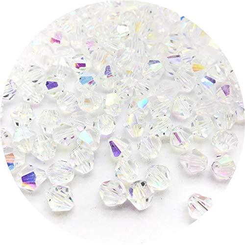 KUQIQI 4/6/8 mm de Cristal Brillante Granos Granos Granos Espaciador Flojo Granos de Cristal for la joyería Collar de la Pulsera MakingDIY # 010 (Talla : 4mm(100pcs))