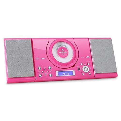 auna MC-120 Total P!nk Edition Minicadena - Equipo de música , Altavoces estéreo , Radio, Reproductor CD y MP3 , FM , USB , AUX , Despertador, Mando a Distancia, Opcional: Montaje en Pared, Rosado