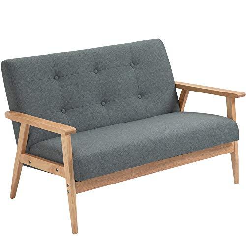 HOMCOM Sofá moderno de 2/3 asientos tapizado de tela de lino con patas de madera de goma