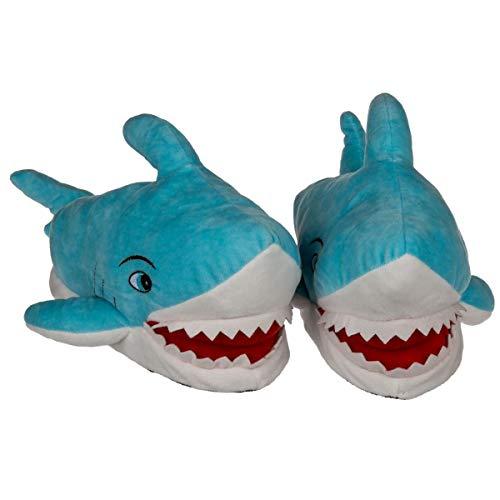 Objektkult Plüsch Hausschuhe 'Hai' für Erwachsene, blau-weiß-rot, mit Hai-Zähnen aus Stoff, lachender Hai-Kopf, rutschfeste Sohle. Verfügbare Größen 37/38, 39/40, 41/42. Größe:39/40