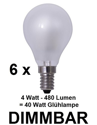 6 x dimbare 4 watt draad/fiLAMENT LED-lamp E14, zoals traditionele gloeilamp melkglas mat, retrofit, warmwit ca. 2700 Kelvin, 480 lumen komt overeen met 40 watt gloeilamp, 220-240 volt