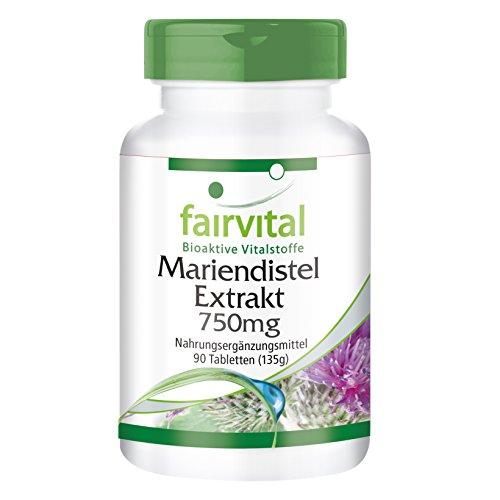 Mariendistel Extrakt - HOCHDOSIERT mit 750mg Mariendistel Extrakt pro Tablette - VEGAN - 80% Silymarin - 90 Tabletten
