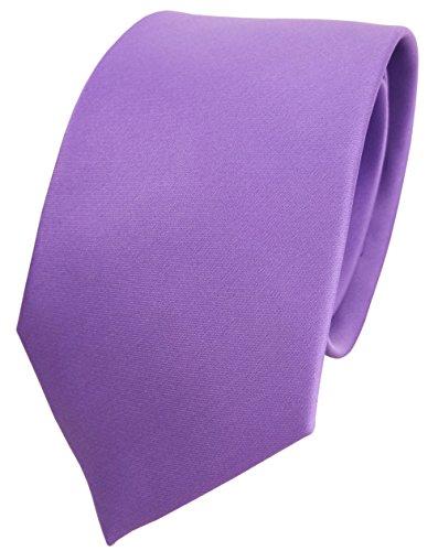 TigerTie Designer Satin Krawatte in lila flieder einfarbig uni