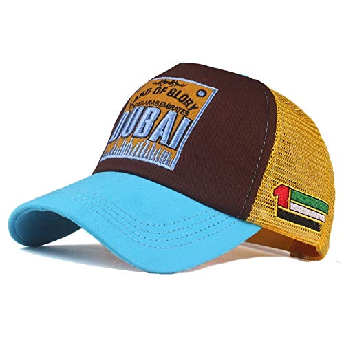 Trucker Mesh Baseballcap Dubai Land of Glory Distressed Snapback Vintage Used Look Retro Sommer Oldschool Kappe Cap Schirmmütze Basecap (hellblau/braun/gelb)