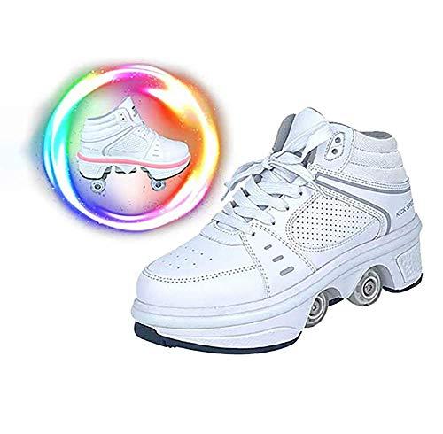 Doble Rodillo Zapatos De Skate Zapatos Invisible De Polea De Zapatos Zapatillas De Deporte Luz Zapatos con Luces LED de Colores Zapatos Multiusos, niños Zapatos con Ruedas,38
