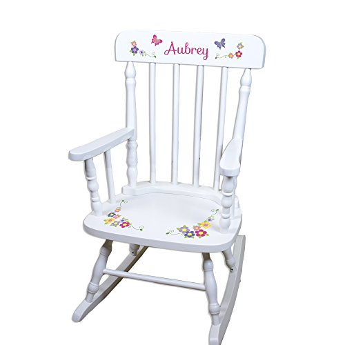 Children's Personalized White Bright Butterfly Rocking Chair