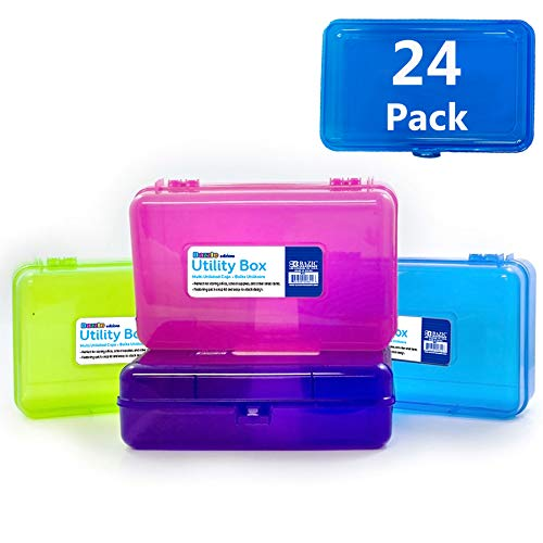 BAZIC Bright Color Multipurpose Utility Box, Cubes Pen Pencil Boxes Storage, Desk Plastic Organizer Case for Pens Pencils Student Kids School Supplies, Assorted COLORS MAY VARY, 24-Pack