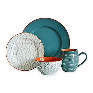 Baum Tangiers 16-Piece Dinnerware Set in Turquoise