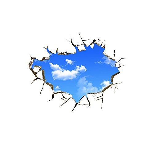 Hacoly Wolken Wandaufkleber Blauer Himmel 3D Wandsticker Küche Glasfenster DIY selbstklebend Aufkleber Wandtattoo Esszimmer Wanddeko Ideal für die Dekoration Ihres Hauses -