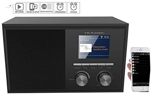 VR-Radio WLAN Radio: WLAN-Internetradio mit 2 Weckzeiten, Farbdisplay, Holzgehäuse, 6 Watt (WLAN Radiowecker)