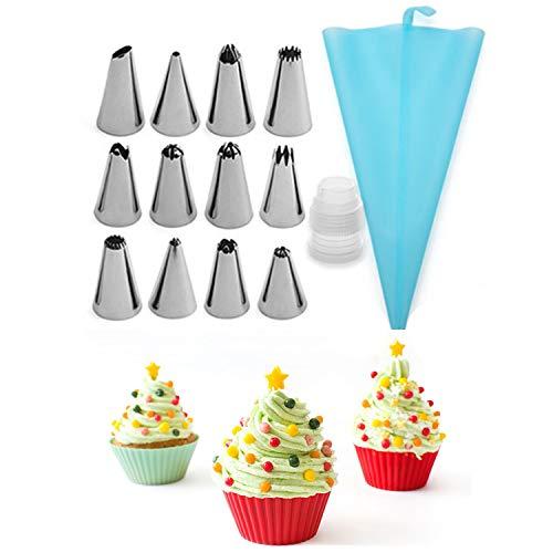 NIAGUOJI Sacchetti e beccuccio in silicone per decorare torte, set da 14 pezzi, sacchetto da pasticceria color crema e 12 beccucci per tubazioni per decorare torte fai da te