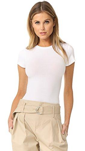 Yummie womens Short Sleeve Seamless Shaping Thong Shapewear Bodysuit, White, Small - Medium US