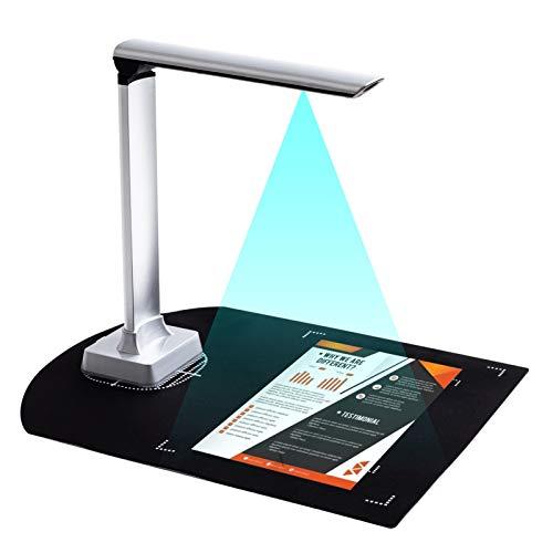 Aibecy Cámara de documentos portátil HD 12 megapíxeles Tamaño de captura Escáner A4 Puerto USB 2.0 Soporte de luz LED 129 Función de OCR en varios idiomas Escaneo de código de barras Grabador de video