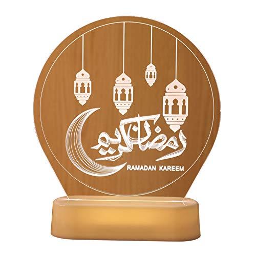 Eid Mubarak Nachtlicht, Ramadan LED Mubarak Lichter, Sesamöl für Lampe bunt (warmes Weiß)
