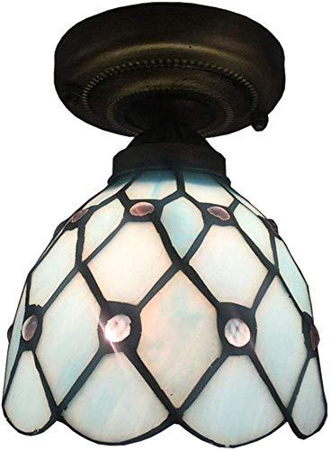 Tiffany Plafondlamp Led Plafondlamp, E27 Glas Flush Mount Plafondlamp Plafondlamp Balkon Corridor Bevestiging -Bijzonder 15 x 12 cm (6x5inch)