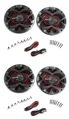 4) New BOSS CH6520 6.5' 2-Way 500W Car Coaxial Audio Speakers Stereo Red 6 1/2'