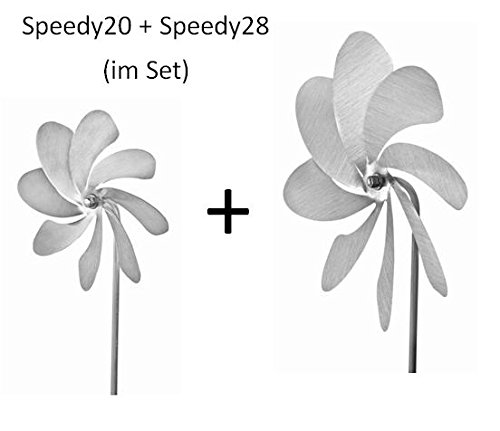 steel4you A1040 Windrad-Set aus Edelstahl: Speedy20 (20cm Rotor) und Speedy28 (28cm Rotor) - Made in Germany