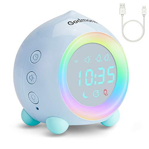Godmorn Kinderwecker Digitaler, Wecker Sonnenaufgangssimulator für Kinder,Stiller Alarm Clock mit Bunte LED Lichter Countdown, Ohn Ticken Tischuhr Geburtstagsgeschenke für Jungen Mädchen(Blau)