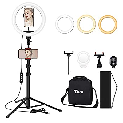 TBJSM Ring Light Kit 18 inch 6000K Dimmable LED Ring Light with Light Stand Carrying Bag Cold Shoe Adapter for Camera Smartphone iPad YouTube TikTok Self-Portrait Shooting from TBJSM