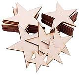 liuer 100PCS Legno Fette Grezzo Decorazioni Unfinished Blank Naturale Legno da Decorare Natale per DIY Arts Craft Project,Pirografia Art,Incisione Laser Carving,Pittura(Forma a Stella,5CM/8CM/10CM)