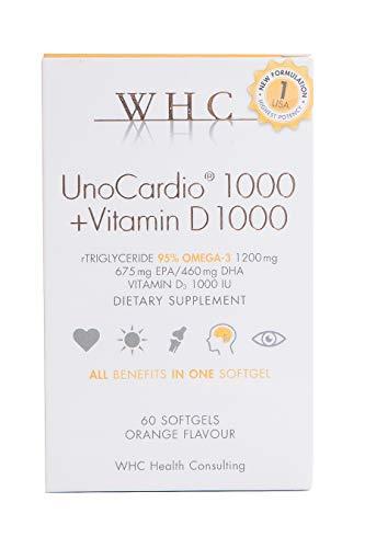 WHC UnoCardio 1000 + Vitamin D3 1000 IU Fish Oil - 60 Capsules - 95% Omega 3 1200 mg