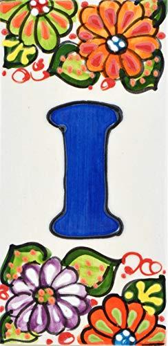 Insegna con numeri e lettere fatte di piastrelle di ceramica, fatte e dipinte a mano per nomi indirizzi e segnaletica. Testo personalizzabile. Disegno JARDIN 14,5 cm x 7 cm. (LETTERA 'I')