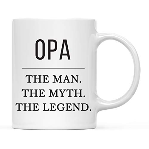 Andaz Press Funny Father's Day Grandpa 11oz. Coffee Mug Gag Gift, Opa The Man The Myth The Legend, 1-Pack, for Grandfather's Christmas Birthday Present Ideas