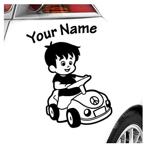 Babyaufkleber Junge Auto Sticker 25 Farben mit Wunschtext 15cm