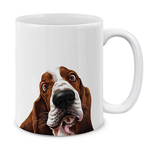 MUGBREW Cute Basset Hound Dog Full Portrait Ceramic Coffee Gift Mug Tea Cup, 11 OZ Basset Hound Dog Portrait