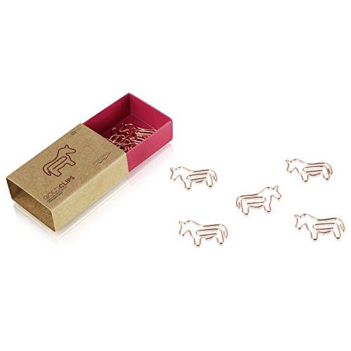 DESIGNMANUFAKTUR BERLIN GOLDCLIPS niedliche süße Deko Clips Büroklammern Heftklammern Lesezeichen Paperclip rose vergoldet in schöner Verpackung, Motiv Pferd/Einhorn