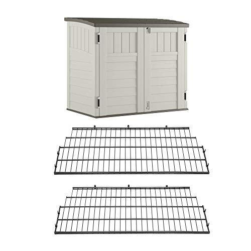 Suncast Horizontal Stow Away Storage Shed and Vertical Metal Wire Shelf (2-pack)