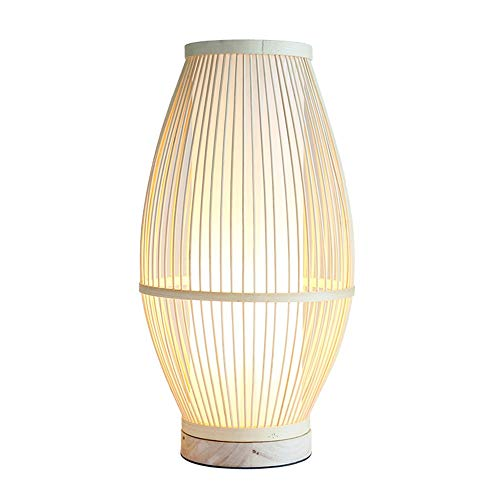 Lievevt Lámpara Escritorio Lámpara lámpara de Dormitorio Chino, lámpara de bambú (diámetro 230mm, Altura 450mm, 420mm, Boca de Tornillo E27)