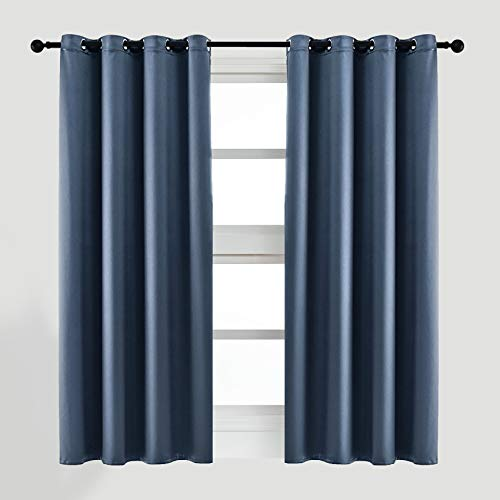 ARTBECK Faux Silk Dupioni Blackout Curtains for Bedroom, Soft and Smooth Satin Silk Curtains Thermal Insulation Solid Curtain Panels for Living Room Grommet Top (52W x 63L, Grayish Blue)