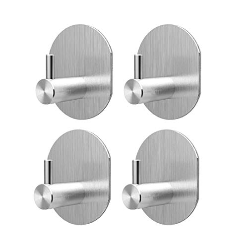Self Adhesive Hooks, Pack 4,Stainless Steel Robe Coat Hooks, Kitchen Bathroom Office Closet - Waterproof, No Drill Glue Needed
