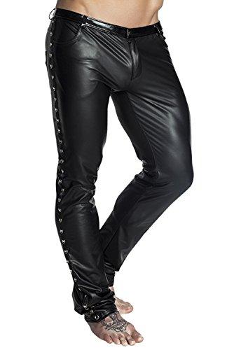 Schwarze lange Herren wetlook Hose dehnbar Männer Dessous Pants mit Taschen und Verzierung 6XL