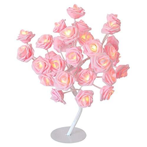 WFFF Tischlampe LED-Rose-Blumen-Baum-Tabellen-Lampe Schreibtisch-Nachtlicht-Geschenk für Mädchen-Frauen Teens Startseite (Größe: 45cm)