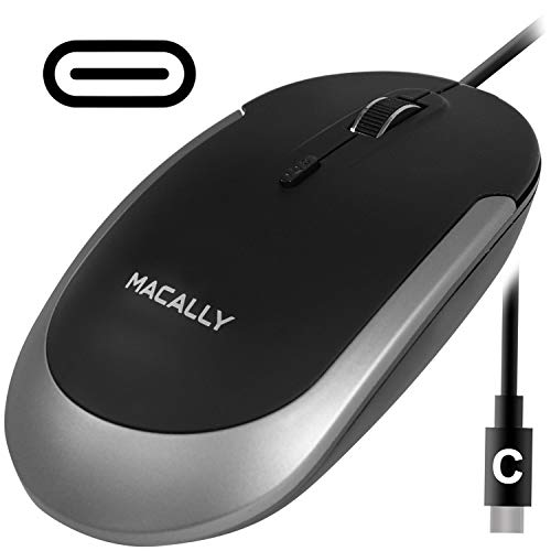 Macally USB Type C Mouse - Slim & Compact Design - USB C Mouse for MacBook Pro iMac PC etc. - Simple 3 Button & Scroll Wheel Layout with DPI Switch - Comfortable Plug & Play Corded Mouse