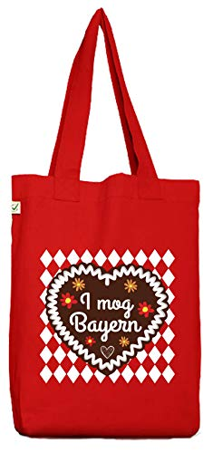 ShirtStreet Gaudi Wiesn Bio Baumwoll Jutebeutel Stoffbeutel Oktoberfest - I mog Bayern, Größe: onesize,Red