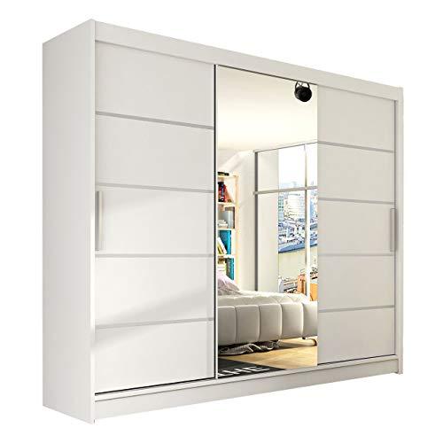 Modernes Schwebetürenschrank Aston VI mit Spiegel, 250 x 215 x 58 cm, Kleiderschrank, Garderobe, Schlafzimmer, Schiebetürenschrank, Schlafzimmerschrank (Weiß)